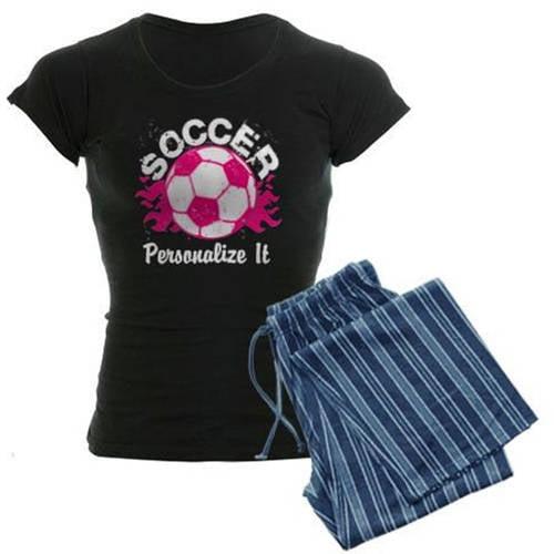 Cafepress Personalized Soccer Flames Women's Dark Pajamas