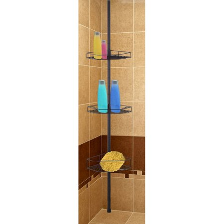 Home Basics 3-Tier Tension Rod Shower Caddy - Walmart.com