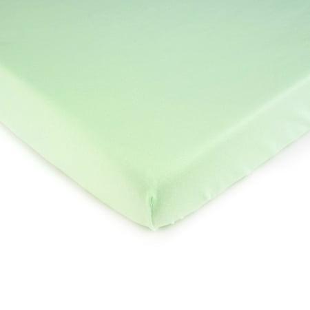 SheetWorld Fitted 100% Cotton Jersey Portable Mini Crib Sheet 24 x 38, Soft Mint