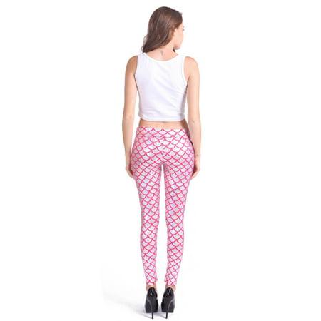 64dd7379be7c8 HDE - HDE Women's Shiny Liquid Metallic Fish Scale High Waist Mermaid Stretch  Leggings (Pink, Medium) - Walmart.com