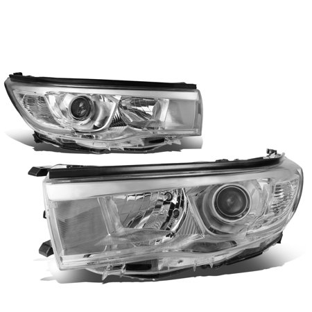 For 2014 to 2016 toyota Highlander XU50 Pair Projector Headlight Chrome Housing Clear Corner Headlamps 15