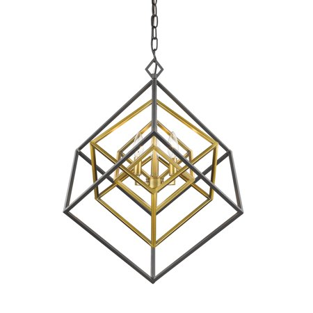 Z-Lite 457-3OBR-BRZ Euclid Chandelier, Olde Brass + Bronze (Olde Brass Chandelier)
