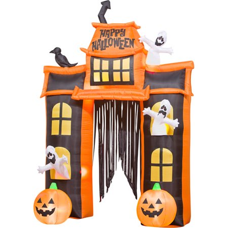 10 tall airblown halloween inflatable haunted house and archway