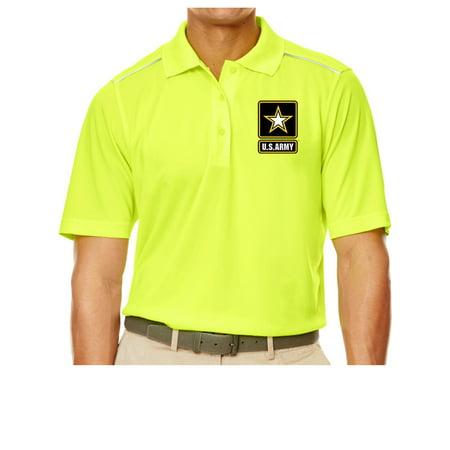 Mens High-Visibility ARMY Polo Shirt - Safety Yellow, 4XL (pocket print) - image 1 de 1