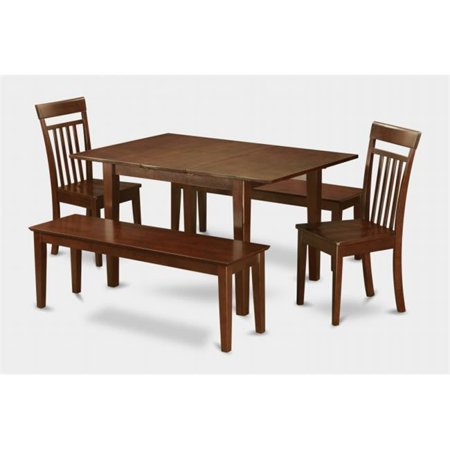 East West Furniture MLCA5C-MAH-W 5PC Set with Rectangular 36 x 54 Table with 12 in butterfly leaf and 2 Wood seat chairs 2 51-in Long benches