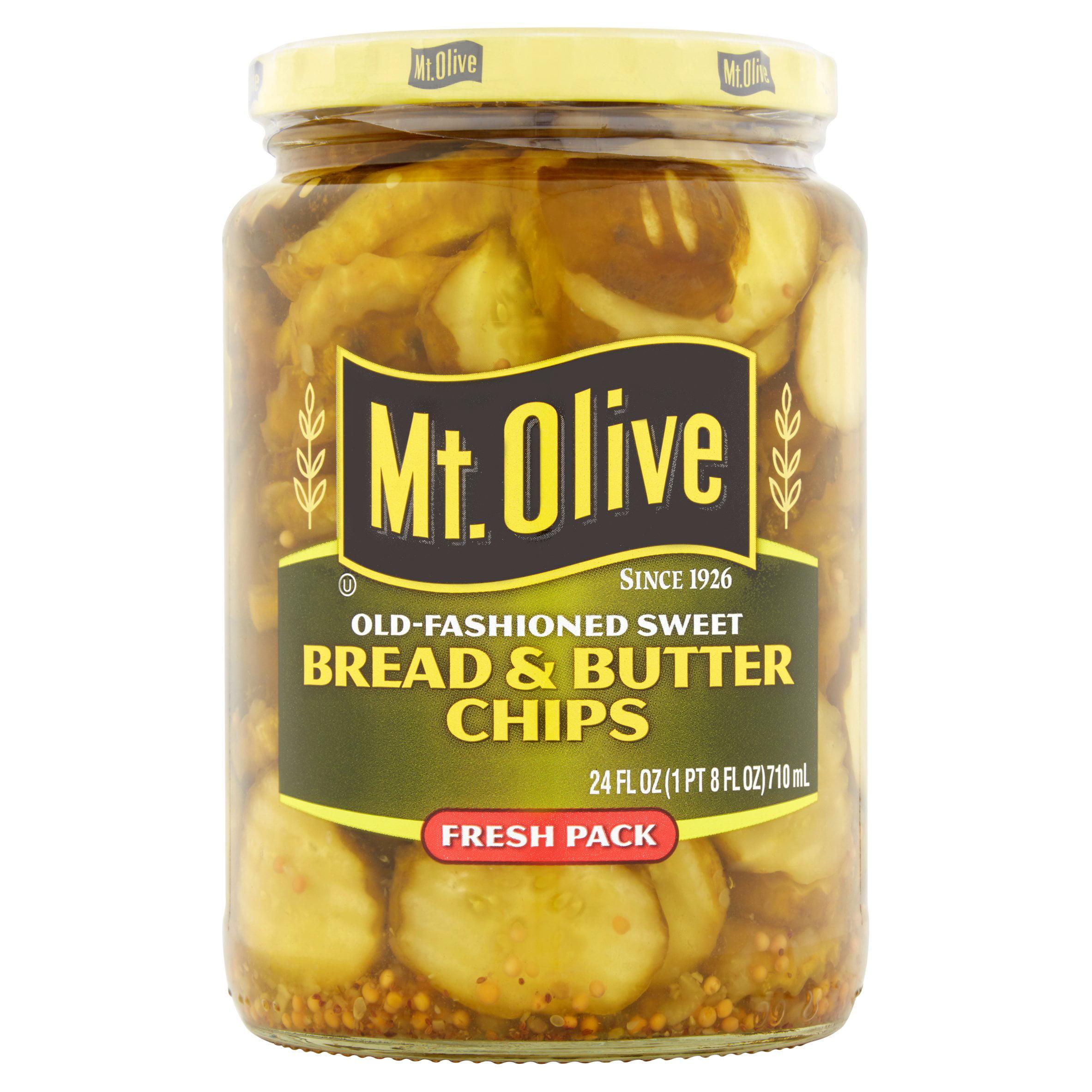 Mt. Olive Bread & Butter Chips Old Fashioned Sweet Fresh Pack Pickles 24 fl. oz. Jar by Mt. Olive Pickle Company, Inc. / Corner of Cucumber & Vine