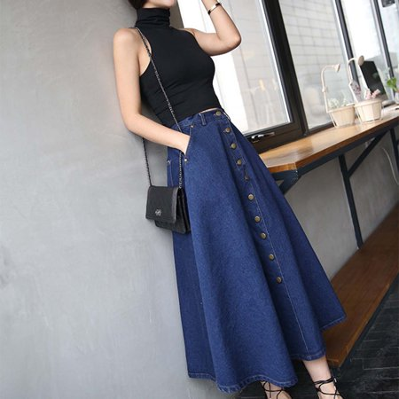 acf012dc2eb4da Korean Style Women High Waist Loose Type Long Skirts Clothes Denim Skirts  dark blue - image ...