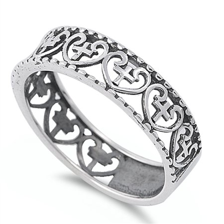 Antiqued Heart Cross Stackable Purity Ring .925 Sterling Silver Band Size 13