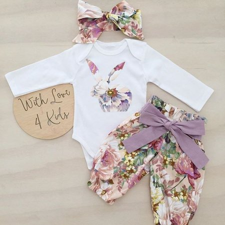 Newborn Infant Baby Girls Cotton Bunny Tops Romper Pants Outfits Headband Set Clothes (Be Girl Clothing)