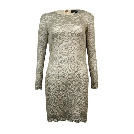 Silver Foil Dress (Lauren Ralph Lauren Women's Foil Scalloped Hem Sheath Dress (4P,)