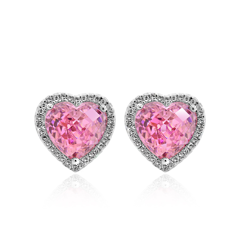 0.35 Carat Diamond Heart Shaped Earrings with Pink Quartz 14K White Gold by
