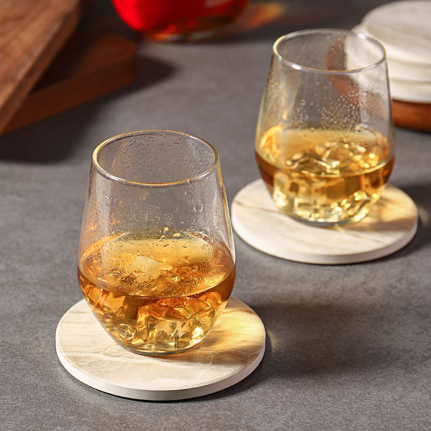 Suitable for Kinds of Cups 6 Piece Absorbent Drink Coasters Sets Absorbent Coasters with Cork 4 Inches LIFVER Coasters for Drinks for Housewarming Gifts for Home Decor Cherry Style