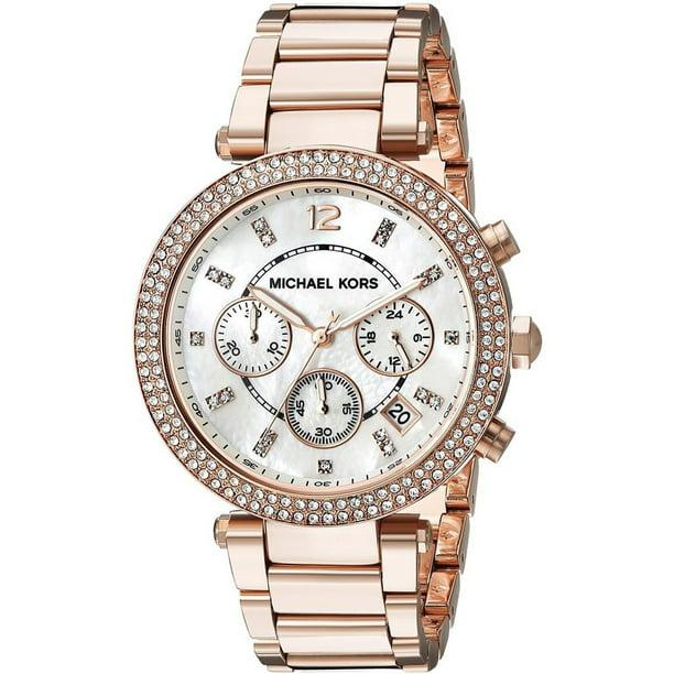 Michael Kors Women's Parker 39mm Rose Gold-Tone Steel Bracelet & Case Quartz MOP Dial Analog Watch MK5491