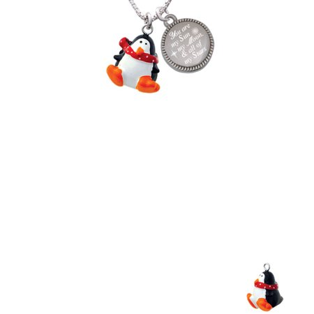 Resin Penguin with Red Scarf You are my Sun, My Moon, and All of My Stars Engraved - Sun And Moon Friendship Necklace