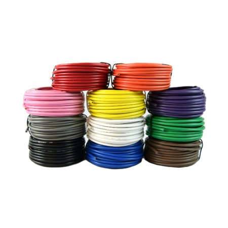 Stranded Ultra Flexible Single Conductor (14 Gauge Single Conductor Stranded Remote Wire 11 Rolls 12 Volt 25 Feet Each)