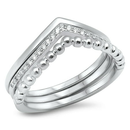 - Chevron Set White CZ Stackable Thumb Ring ( Sizes 5 6 7 8 9 10 ) .925 Sterling Silver Band Rings by Sac Silver (Size 10)