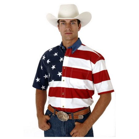 Roper Western Shirt Mens S/S Button USA Flag Red 03-002-0185-0101 RE