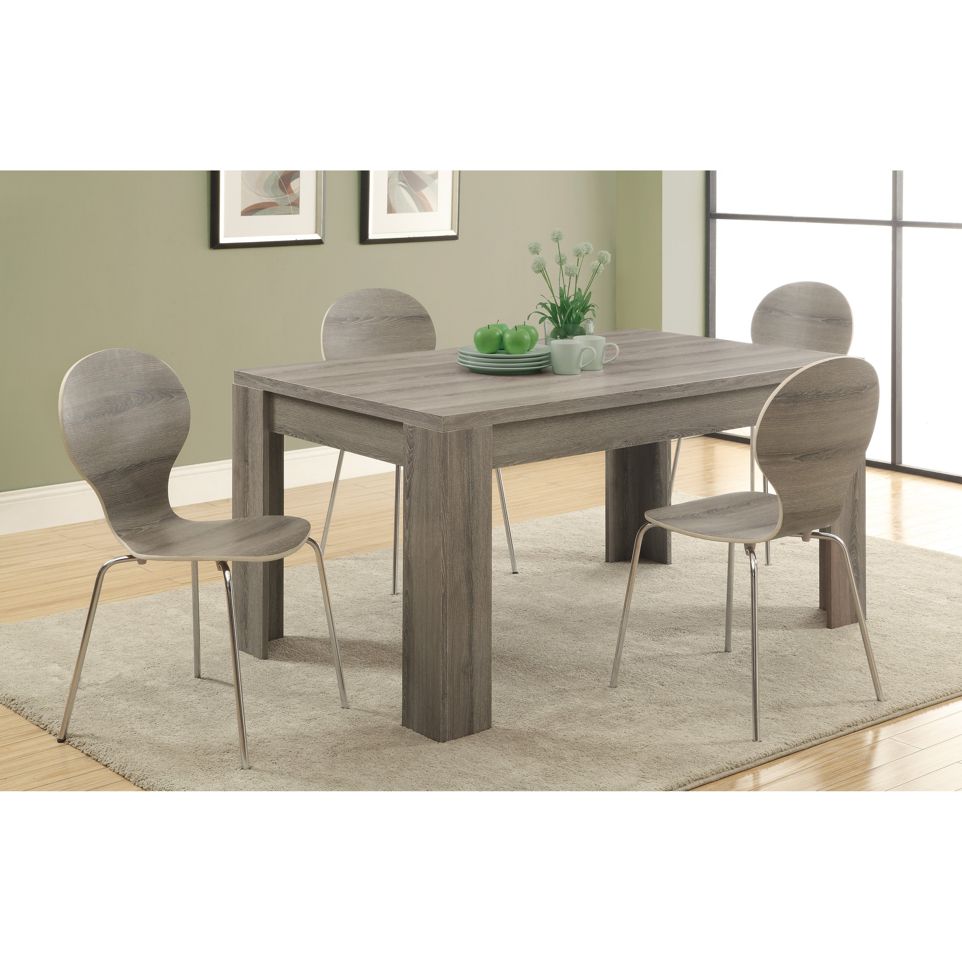 Monarch Greyson Reclaimed Wood Rectangle Dining Table 5 Piece Set