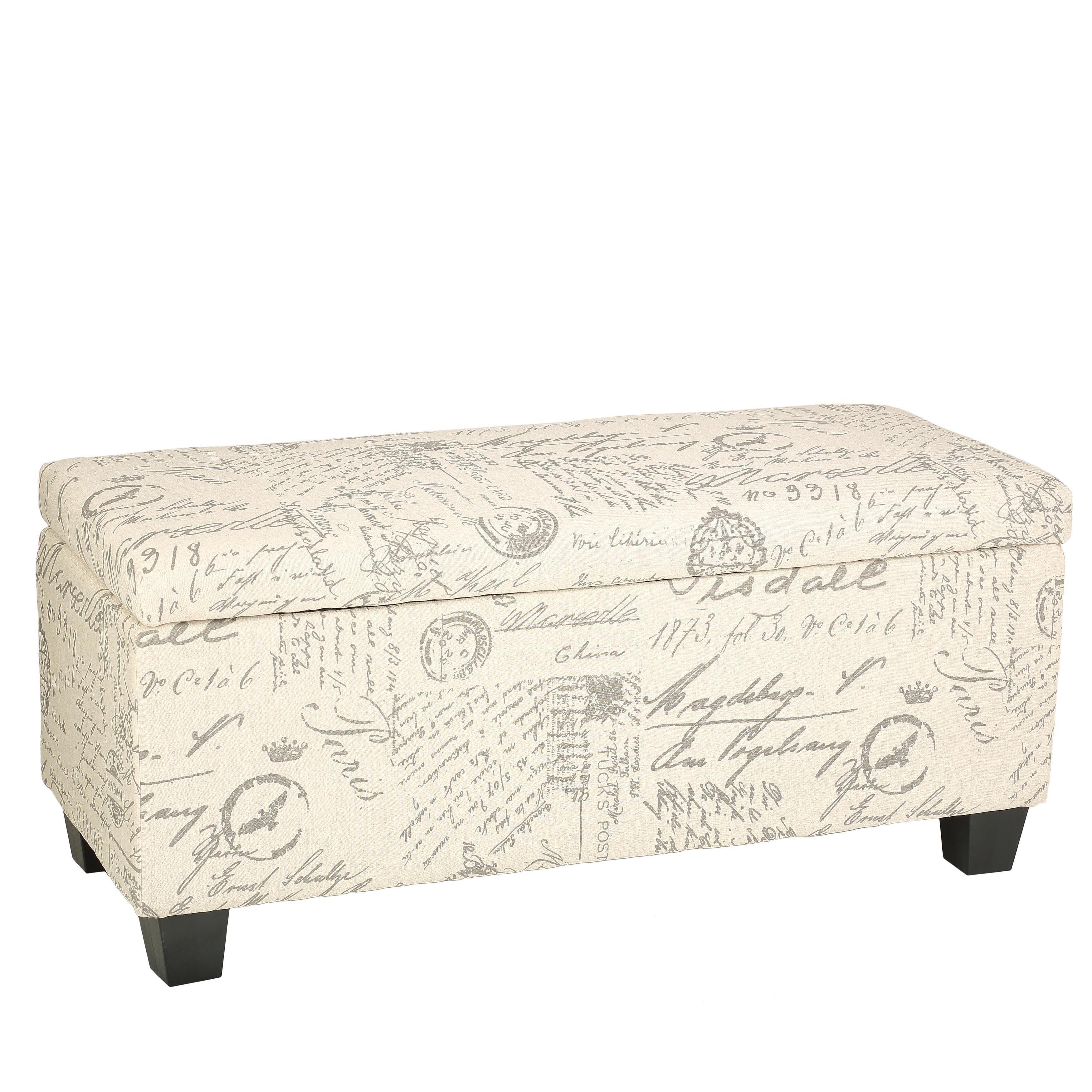 Cortesi home fitzgerald upholstered storage ottoman walmart com