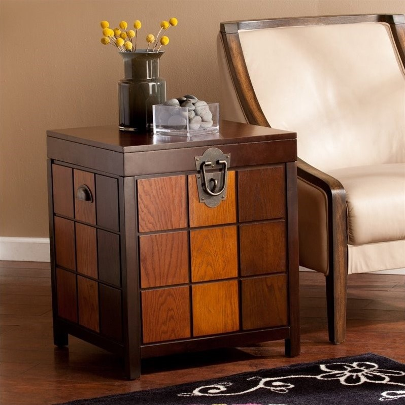 Southern Enterprises Hendrick Trunk End Table in Espresso and Woods