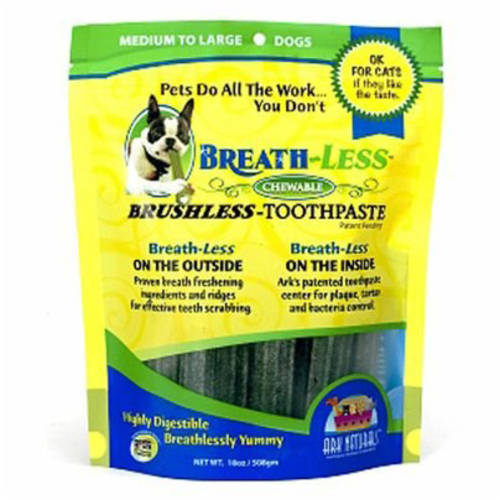 Ark Naturals Breath-Less Brushless Toothpaste Chewable Medium/Large Dog Treats, 18 Oz.