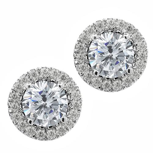 1.27 Ct Round G/H Diamond White Diamond 925 Sterling Silver Earrings