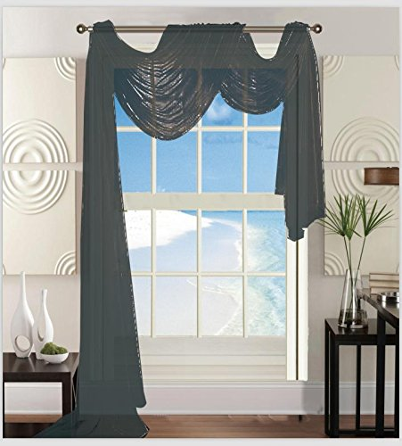 "Elegant Comfort Beautiful Window Panel Curtain Sheer Voile Scarf 55"" X 216"" Grey"