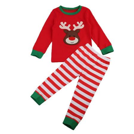 Christmas Toddler Baby Boy Girls Long Sleeve Reindeer Sleepwear Pajamas Nightwear
