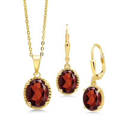 7.20 Ct Oval Red Garnet 18K Yellow Gold Plated Silver Pendant Earrings Set