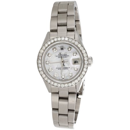Ladies Rolex DateJust Diamond Watch Oyster Perpetual Steel 6917 MOP Dial 1 (Large Automatic Steel White Dial)