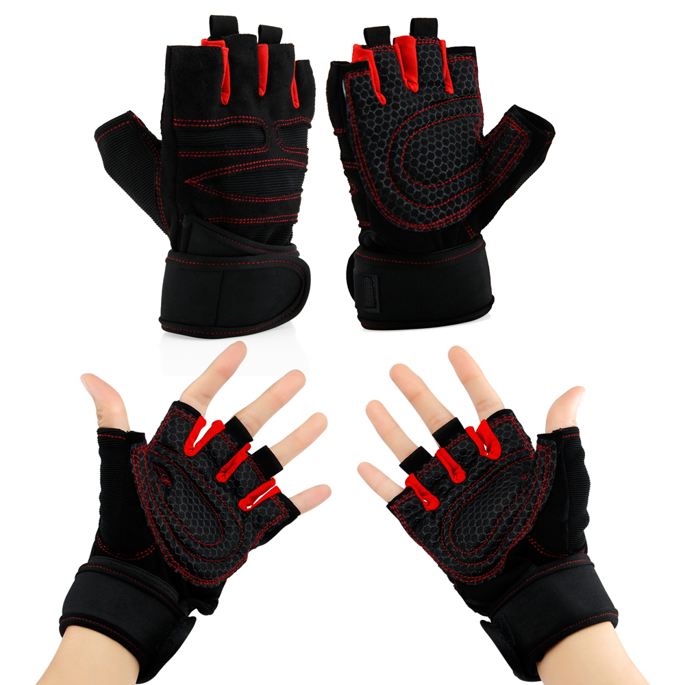Workout Gym Half Finger Gloves Weight Lifting Wrist Wrap Sports Exercise Training Fitness by GEARONIC TM