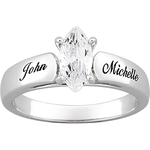 Personalized Sterling-Silver with Marquise Cubic Zirconia Engagement Ring