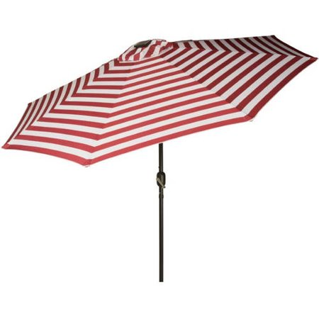 Deluxe Solar Powered Led Lighted Patio Umbrella  9  By Trademark Innovations  Red Stripe