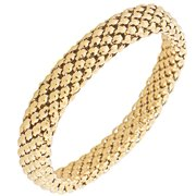 EDFORCE Stainless Steel Yellow Gold-Tone Classic Stretch Bangle Bracelet