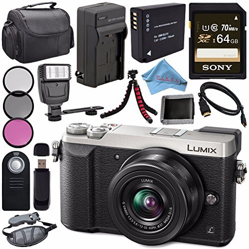 Panasonic Lumix DMC-GX85 DMCGX85 Digital Camera with 12-32mm Lens + DMW-BLG10 Lithium Ion Battery + Charger + Sony 64GB SDXC Card + Case + Remote + Card Reader + Fibercloth + Tripod + Flash Bundle