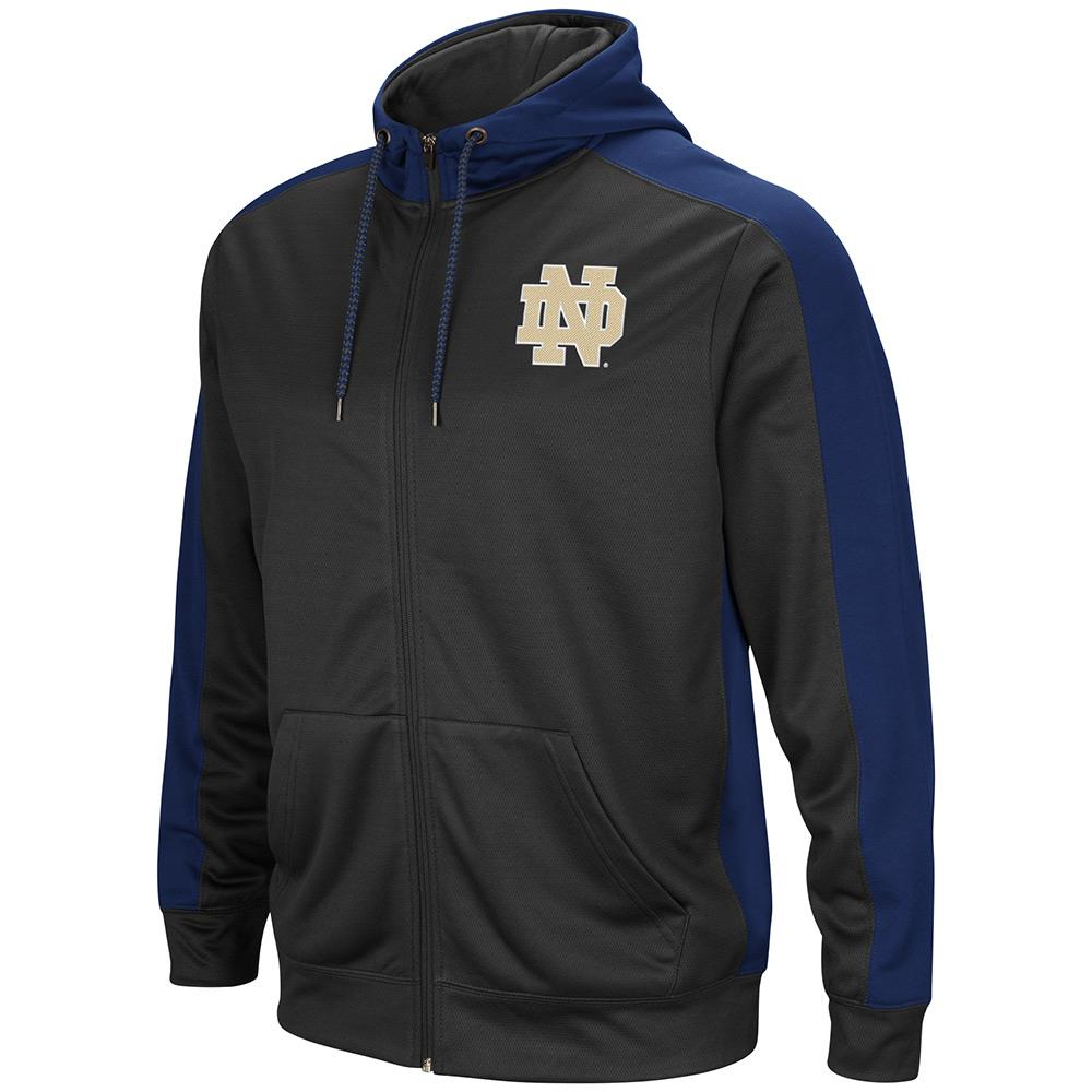 Mens NCAA Notre Dame Fighting Irish Full-zip Hoodie (Charcoal) by Colosseum