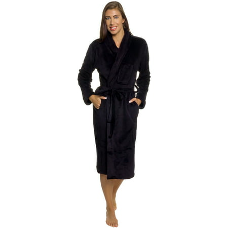 Silver Lilly Women Black Plush Wrap Kimono Bath Robe Loungewear w Tie Belt (S/M)