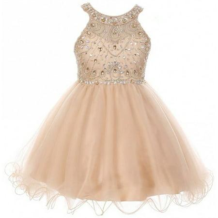 Little Girls Dress Sparkle Rhinestones Holiday Christmas Party Flower Girl Dress Champagne Size 4 (M10BK50)