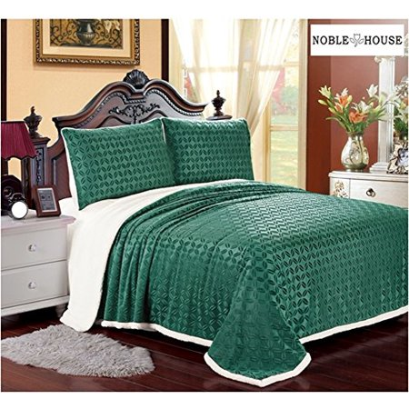 Luxurious Home Ultra Soft Reversible King Blanket with Sherpa Lining - Sage