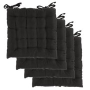 Dream Home (Set of 4) Indoor Chair Pads Inches Square Tufted Seat Cushions Pillows With Ties