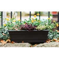"Bloem Dura Cotta Window Box Planter w/Tray 18"" Black"