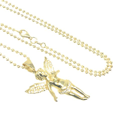 Real .925 Sterling Silver Yellow Gold Tone Angel Charm & Bead Ball Necklace Chain New 24