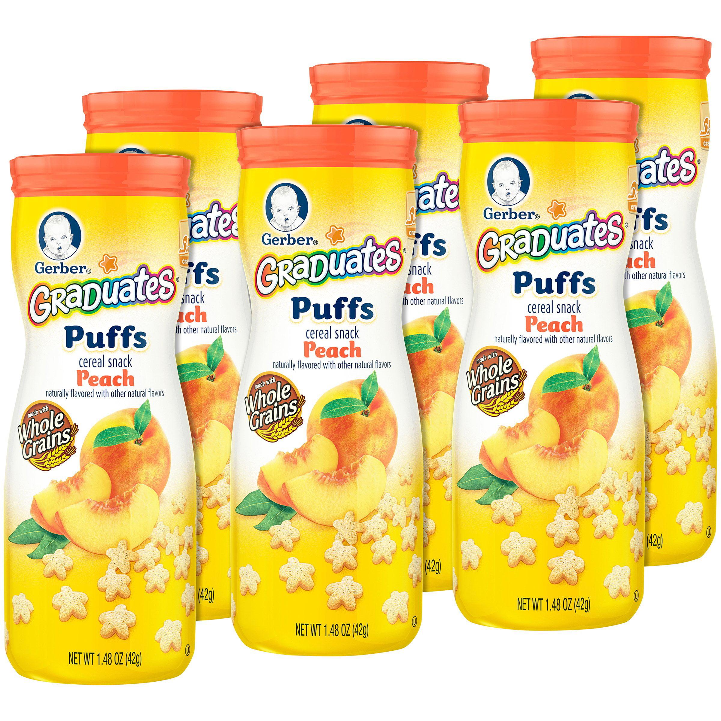 Gerber Graduates Puffs, Peach, 1.48 oz (Pack of 6)