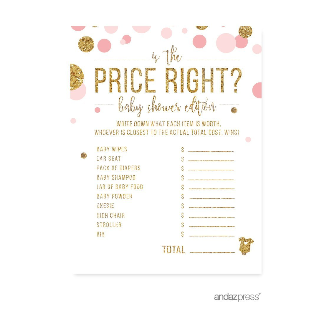 Is The Price Right Game Blush Pink Gold Glitter Baby Shower Games, 20 Pack