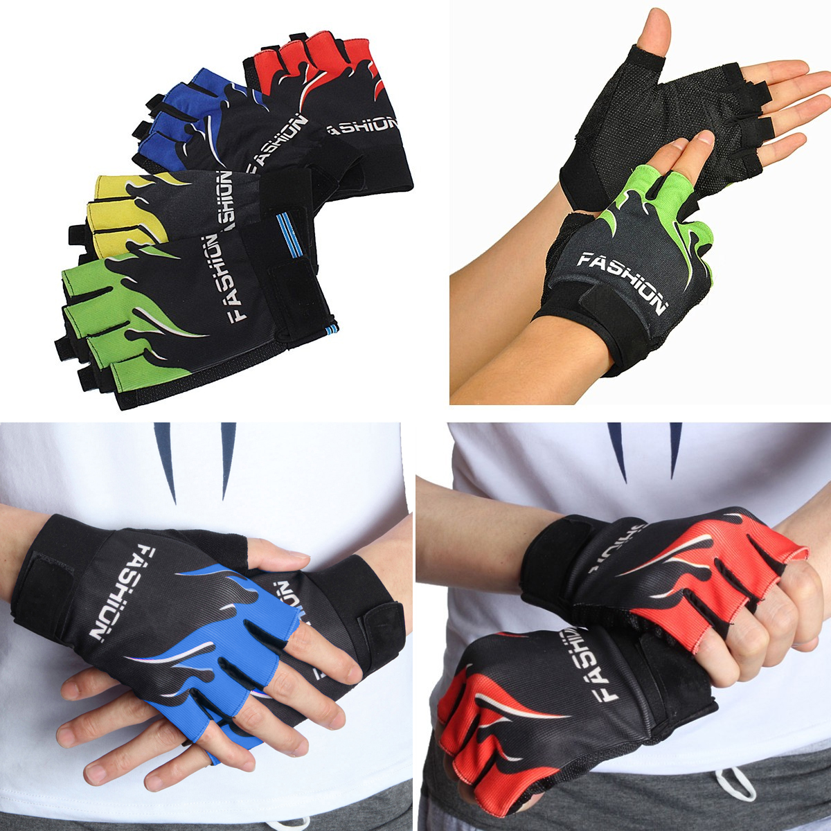1 Pair Gloves Half-finger Fingerless Outdoor Sports Riding Bike Bicycle Cycling