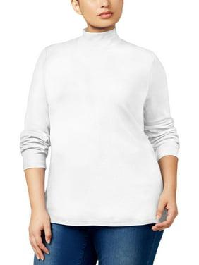 aeef0dc3a3e Product Image Karen Scott Plus Size Bright White Long-Sleeve Cotton  Mock-Neck Top 1X