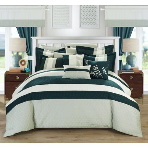 Chic Home Lorena Teal 24-piece Bed in a Bag with Sheet Set King-Teal