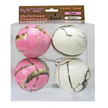 NEXT Camo Christmas Ornaments Pink & Winter White 4 pk Camouflage - Camo Christmas