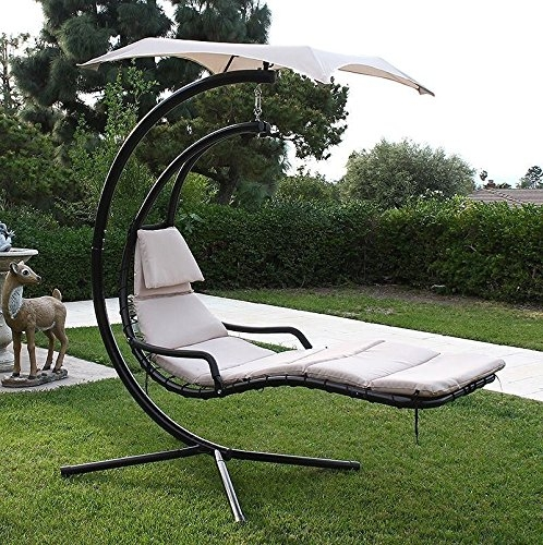 New MTN G Hanging Helicopter Dream Lounger Chair Arc Stand Swing Hammock Chair  Canopy Tan