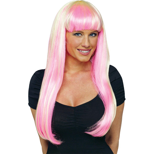 Natural Adult Halloween Wig with Highlights Accessory
